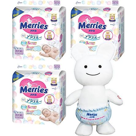 Combo 3 gói tã dán Merries size NB90/S82/M64/L54/XL44 tặng thỏ bông Merries biết hát và đồ chơi Toys House