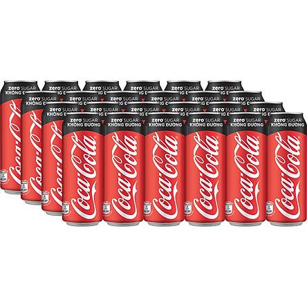 Lốc 24 Lon Nước Giải Khát Không Đường Coca-Cola Zero 320mlx24