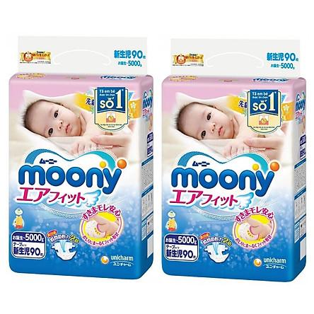 Combo 2 Gói Tã dán sơ sinh Moony Newborn 90 (90 miếng)