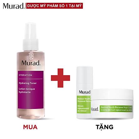 Toner cấp ẩm hồi sinh da Murad Hydrating Tonner 180ml Tặng Retinol Youth Serum 5ml + Retinol Youth Night Cream 8 ml