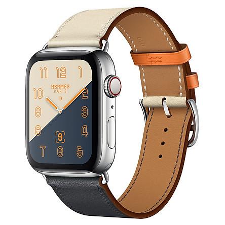 Dây đeo thay thế cho Apple Watch da 2 màu cao cấp_- Trắng Xanh _ 44mm