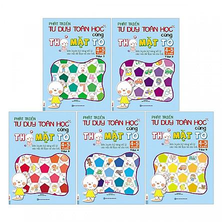 Combo Trọn Bộ 5 Cuốn Sách Phát Triển Tư Duy Toán Học Cùng Thỏ Mặt To ( 4-5 Tuổi ) tặng kèm bookmark