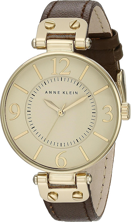 Đồng hồ nữ Đồng hồ nữ Anne Klein Women's 109168IVBN Gold-Tone and Brown Leather Strap Watch