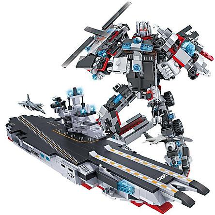 Đồ chơi lắp ráp trẻ em bằng nhựa ABS an toàn -Tàu chiến MECH và SIEU ROBOT BẢO VỆ TRÁI ĐẤT- LEGO STYLE