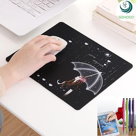Tấm lót chuột 3D nhiều họa tiết 26x21cm+ Tặng kèm bút cảm ứng màn hình, màu ngẫu nhiên