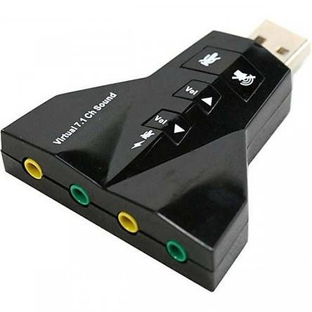 Usb sound 7.1 hỗ trợ 2 cổng âm thanh và 2 cổng audio Chính Hãng