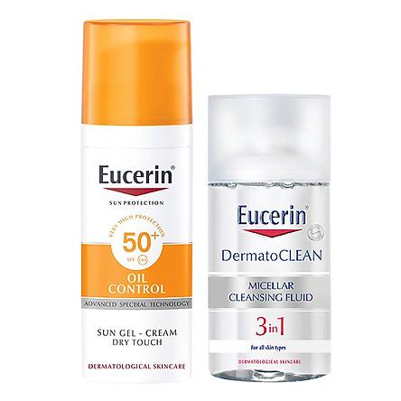 Gel Chống Nắng Cho Da Nhờn Mụn Eucerin Sun Gel-Cream Dry Touch Oil Control Spf50+ (50Ml) - tặng nước tẩy trang Dermato Clean (125ml)