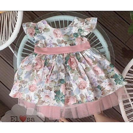 váy hoa hồng baby doll bé yêu