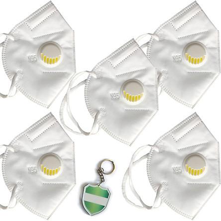 Hộp 5 cái Khẩu trang N95 Pro Mask, có van thở, kháng khuẩn, chống bụi siêu mịn PM2.5, màu trắng - ISO13485, CE, FDA - xuất khẩu Châu Âu , Mỹ ; Tặng móc treo khóa mica
