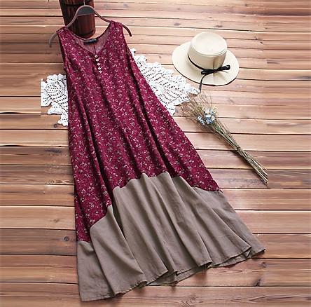 Đầm suông không tay hoa lá ArcticHunter, vải thô mềm, thích hợp mùa hè, thương hiệu chính hãng