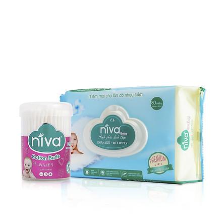 Combo 1 khăn ướt Niva 80 miếng + 1 hũ tăm bông BH1