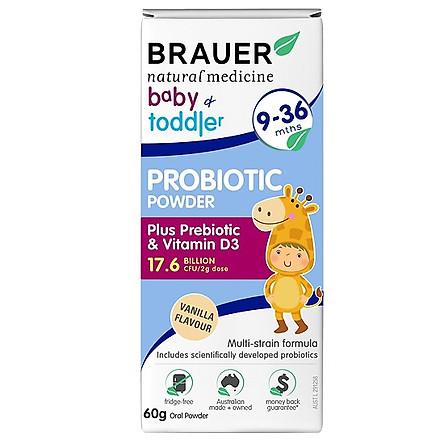 Bột men vi sinh Brauer Baby & Toddler Probiotic Powder vị Vanilla cho trẻ 9-36 tháng tuổi (60g)