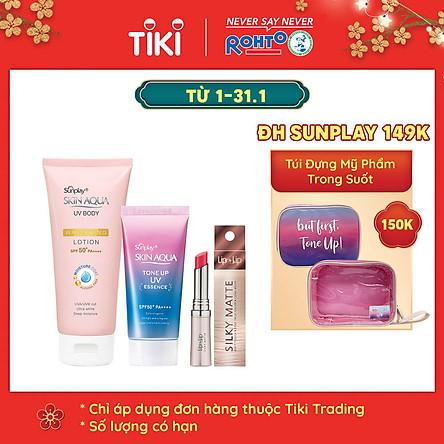 Bộ sản phẩm da trắng hồng trong suốt dành cho da thường/da khô (Tinh chất chống nắng 50g + Lotion chống nắng dưỡng thể 150g) + Tặng son trang điểm Lip On Lip Silky Matte 2.2g
