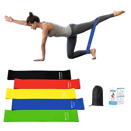 Bộ 5 dây đàn hồi tập gym, dây đàn hồi  mini band tập yoga dây đàn hồi kháng lực cao cấp, dây đàn hồi tập thể dục Cleacco ( bộ 5 dây đủ màu trong 1 túi )