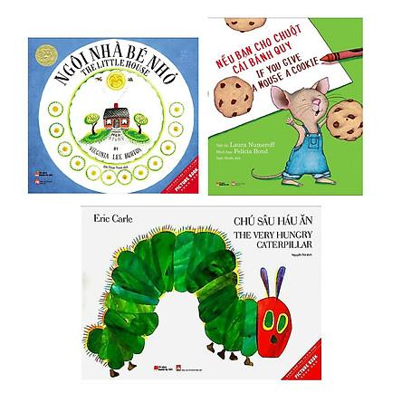 Combo 3 cuốn picture book song ngữ:  Ngôi Nhà Bé Nhỏ - The Little House + Nếu Bạn Cho Chuột Cái Bánh Quy (If You Give A Mouse A Cookie) +  Chú Sâu Háu Ăn ( Dành cho trẻ từ 3-6 tuổi) ( Tặng kèm Bookmark thiết kế)