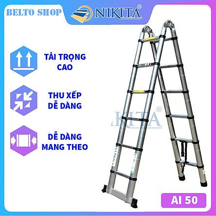 Thang Nhôm Rút Gọn (Chữ A) BELTO AI50-BLACK - 16 Bậc - 5 Mét