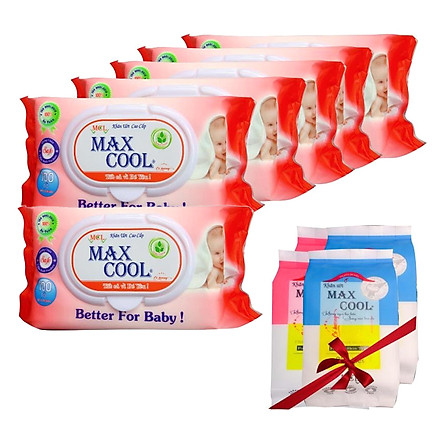 Combo 6 Khăn Ướt Max Cool Hương Phấn Nhẹ Nhàng (100 Tờ x 6) - Tặng Kèm 4 Gói Khăn Ướt Max Cool (15 Tờ x 4)