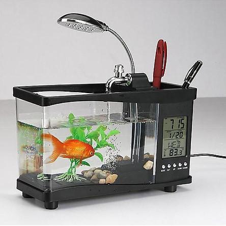 Bể cá mini phong thuỷ để bàn làm việc góc học tập có đèn led