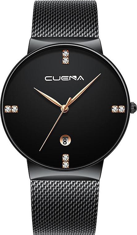 Đồng hồ Nam CUENA CU8899  Lịch ngày sang trọng mặt số đính đá dây thép MÀNH cao cấp