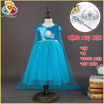 Váy đầm công chúa Elsa, trang phục hóa trang Elsa đính kim tuyến cho bé gái kèm tà dài (Tặng bộ phụ kiện) E149
