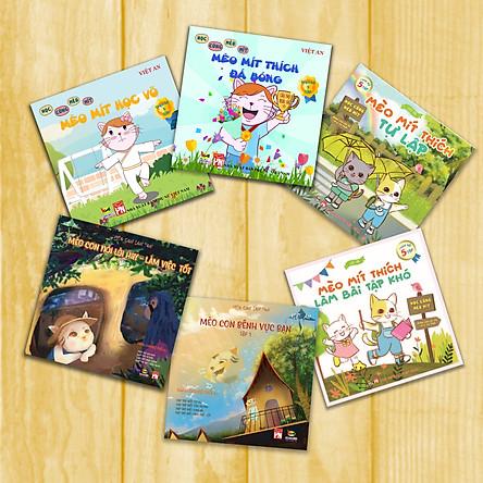 SÁCH RÈN LUYỆN KĨ NĂNG CHO BÉ (từ 5 - 10 tuổi) COMBO TRUYỆN THIẾU NHI (6 tập): Học cùng Mèo Mít + Mèo Con lon ton
