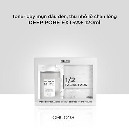 Toner đẩy mụn đầu đen, thu nhỏ lỗ chân lông DEEP PORE EXTRA+ 120ml + 35 miếng cotton ủ mụn