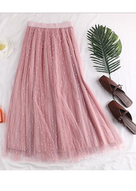 Chân váy ren Tulle - Tutu xòe tròn dáng dài kim tuyến đính hạt cao cấp mẫu hot VAY11 Free size