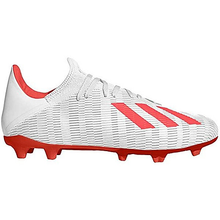 adidas Men's X 19.3 Firm Ground Soccer Shoe, Silver Metallic/hi-res red/White, 7 M US