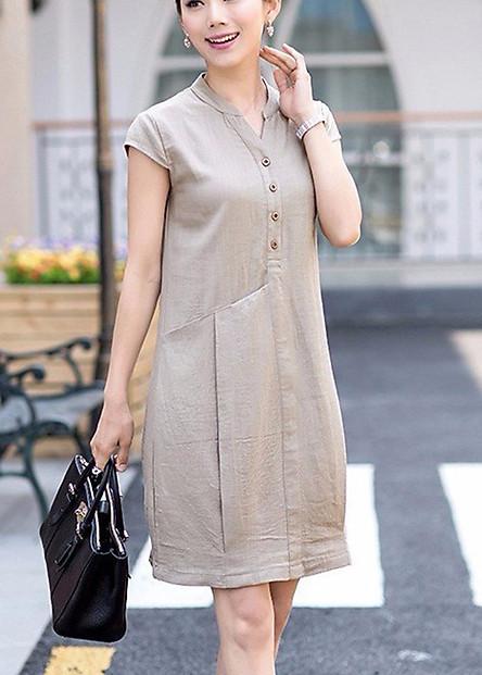 Đầm suông bổ trụ phối túi phong cách Hàn Quốc - DS33
