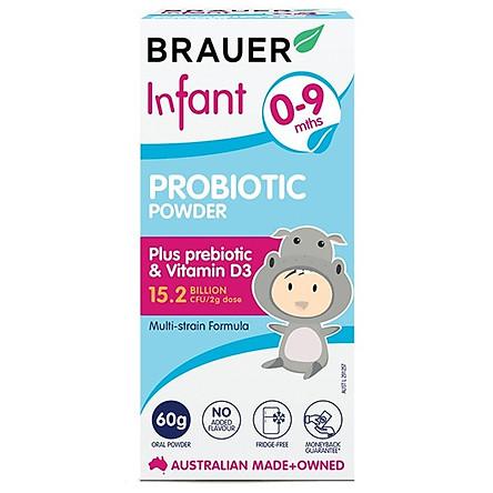 Bột men vi sinh Brauer Infant Probiotic Powder cho trẻ 0-9 tháng tuổi (60g)