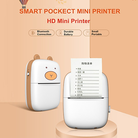 Smart Pocket Mini Printer HD Portable BT Connection Wireless Printer Pocket Cute Appearance Photo Printing Label Notes