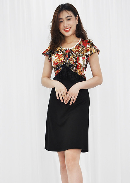 Đầm suông dự tiệc kiểu đầm chữ a phối ren in họa tiết châu âu ROMI 3074