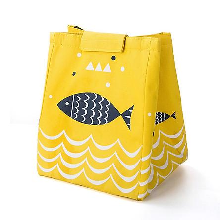 Túi Đựng Hộp Cơm Giữ Nhiệt Đa Năng Họa Tiết Cá Và Sóng Biển Siêu Hot