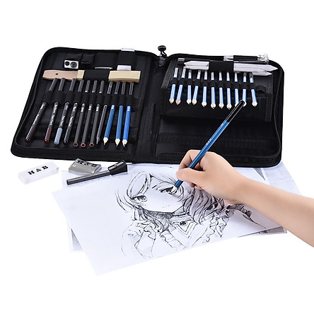 40pcs/ Set Professional Sketching Drawing Pencils Kit Including Sketch Graphite Charcoal Pencils Sticks Erasers