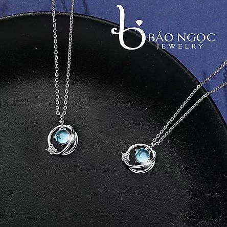 Dây chuyền   Dây chuyền nữ   Dây Chuyền Bạc S925 Đá Aqua Cho nữ - Bảo Ngọc Jewelry