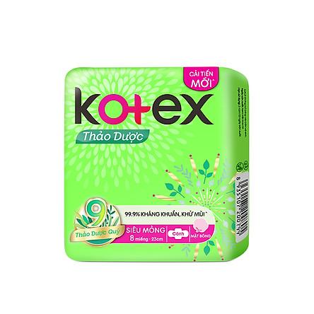 Combo 8 Gói BVS Kotex Thảo dược kháng khuẩn khử mùi SMC cải tiến mới 23 cm ( 8 miếng/gói)
