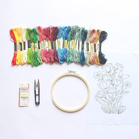 Set Combo Thêu Tay Truyền Thống Đầy Đủ Dụng Cụ Dành Cho Người Mới Bắt Đầu Embroidery Set Full Tool for Beginners