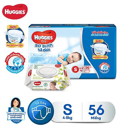 Tã dán sơ sinh Huggies S56 - 56 miếng (5 - 8 kg) [Tặng khăn ướt 64 tờ]