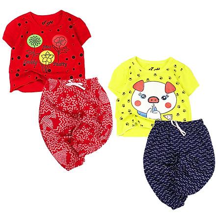 Bộ lửng áo croptpop in hình dễ thương 8 đến 18 kg cho bé gái 04225-04227(2)