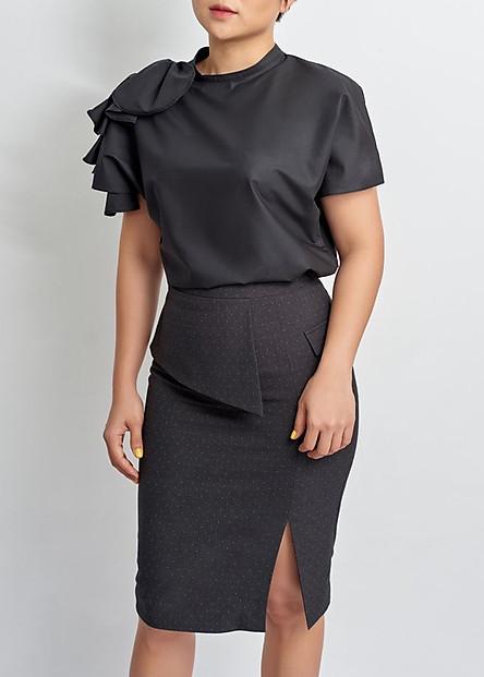 Chân Váy Nữ Peplum Lệch Chấm Bi - May's House Designer - 380503560800 - Xám