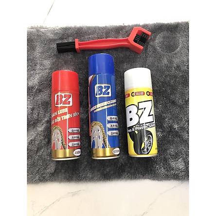 Combo 3 chai Xịt Vệ Sinh Sên Dưỡng Sên và Xịt Đánh Bóng Lốp xe BZ ( Tặng kèm cọ sên )