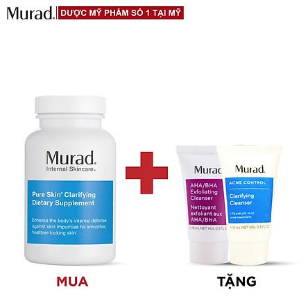 Viên uống mụn Murad Pure Skin Clarifying Dietary Supplement 120 viên Tặng Srm AHA/BHA 15 ml + Clarifying Cleanser 15ml