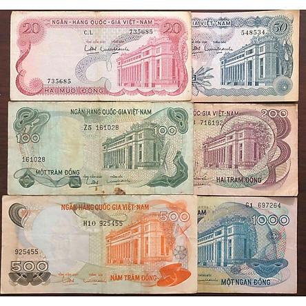 Đủ bộ tiền giấy cổ Việt Nam 1969, 6 tờ bộ hoa văn Miền Nam