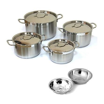 Bộ nồi Fivestar inox 304 bếp từ 3 đáy 4 món FS08-CV tặng bộ thau rổ- Hàng Chính hãng