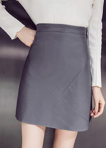 Chân váy da - chân váy da style Hàn Quốc