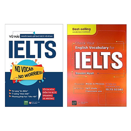 Combo sách chinh phục IELTS đỉnh cao: No Vocab – No Worries + Check Your English Vocabulary For IELTS ( Tặng kèm BOOKMARK)