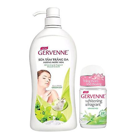 Sữa tắm trắng da Gervenne Green Lily 900gr+Tặng Lăn khử mùi trắng da Gervenne 50gr