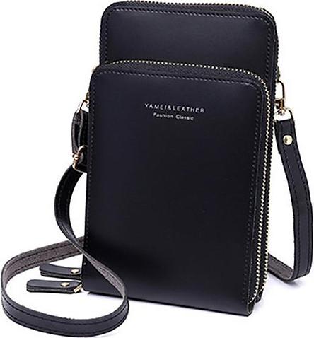Túi đeo chéo đựng điện thoại da trơn cao cấp chống nước hiệu quả, túi 2 ngăn khóa mạ màu vàng sang trọng T178