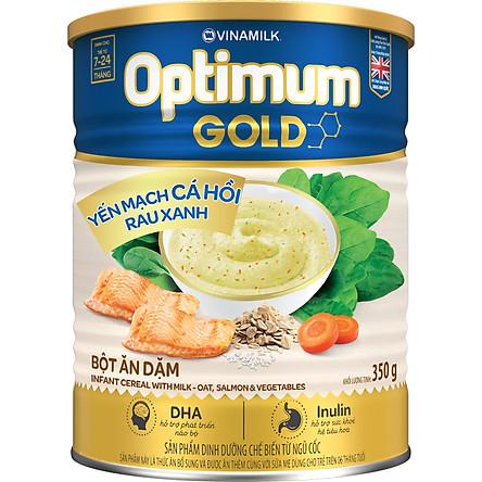 Bột Ăn Dặm Vinamilk Optimum Gold Yến Mạch Cá Hồi Rau Xanh Hộp Thiếc 350gr