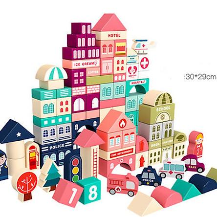 Bộ xếp hình bằng gỗ mô hình thành phố